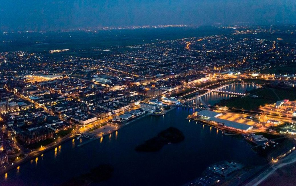 An aerial view of Southport by NPAS Warton