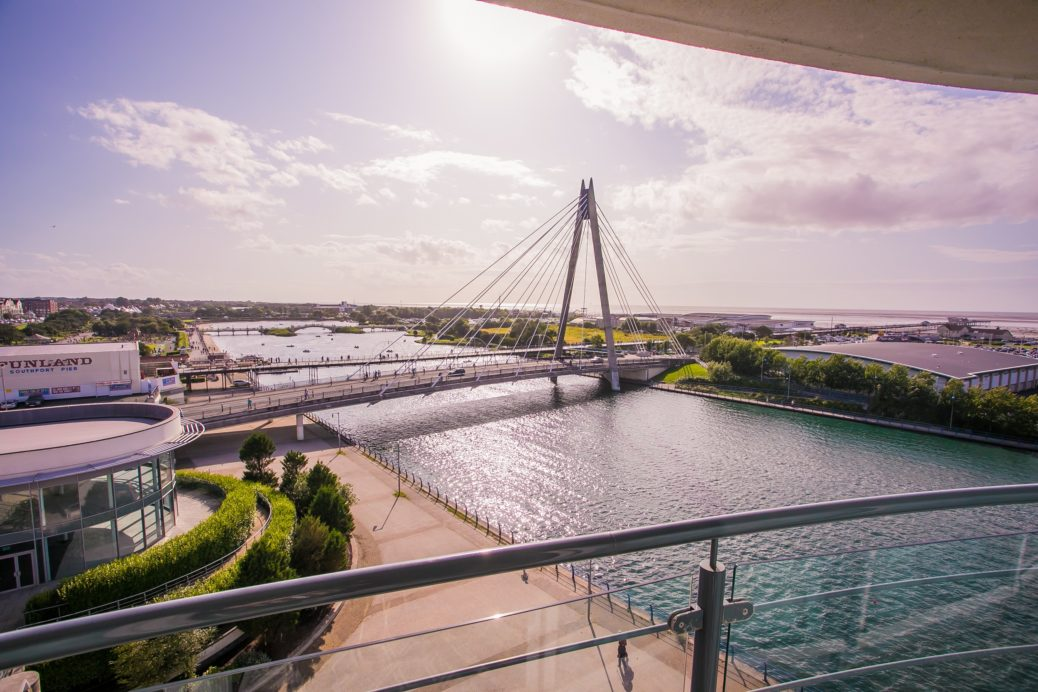 The Marine Lake in Southport, seen from Bliss Hotel.
