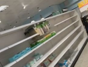 Shelves were left empty at the Home Bargains store in Southport