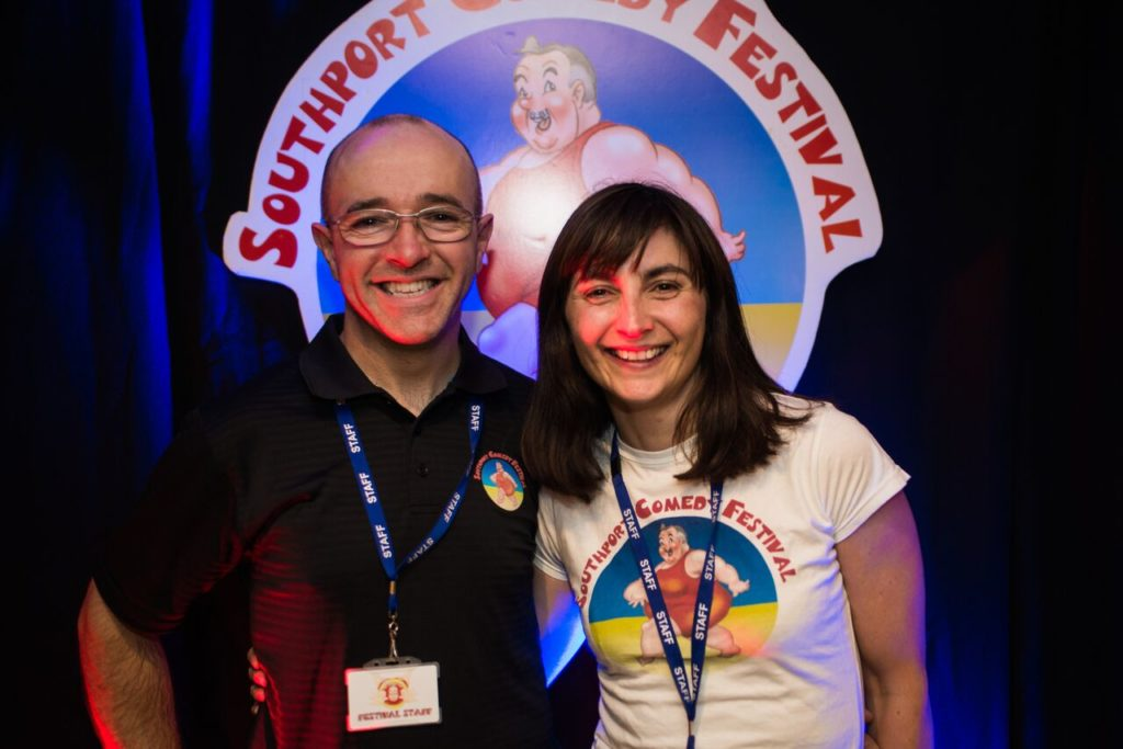 Southport Comedy festival directors Brendan Riley and Val Brady