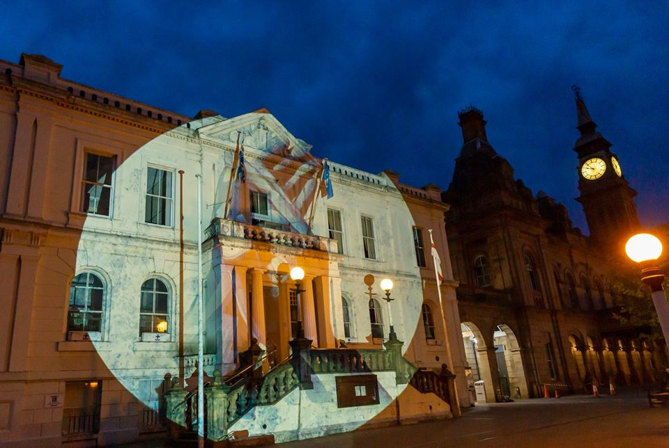 The Clapping Hands artwork by Ian Berry was projected onto the front of Southport Town Hall and Bootle Town Hall on Clap For Carers night on Thursday May 22, 2020. Photo by Angus Matheson of Wainwright & Matheson Photography