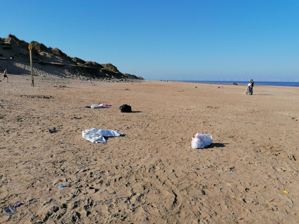 Formby Beach has been left covered in litter by visitors, in this picture shared by Plastic Free Formby