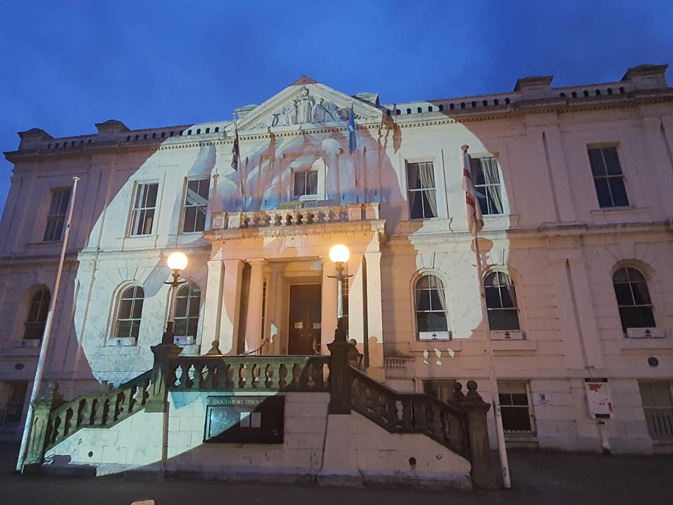 'Clapping Hands' by acclaimed British textile artist Ian Berry was projected onto Southport Town Hall and Bootle Town Hall during Clap For Carers on Thursday, March 21, 2020. Photo by Phil Gee