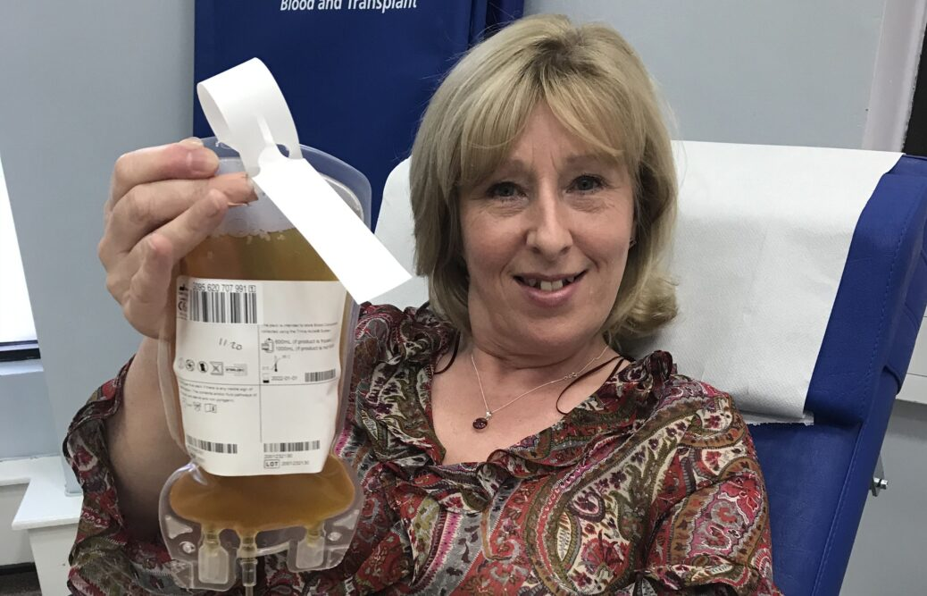 Senior Nurse for Southport and Ormskirk, Hospitals NHS Trust, Laura Mercer, donating her blood plasma as part of the national Covid-19 clinical trial