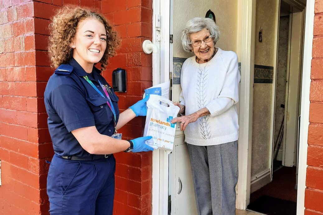 MFRS Advocate Ellie Williams delivers the 2000 th medical prescription to resident Violet.