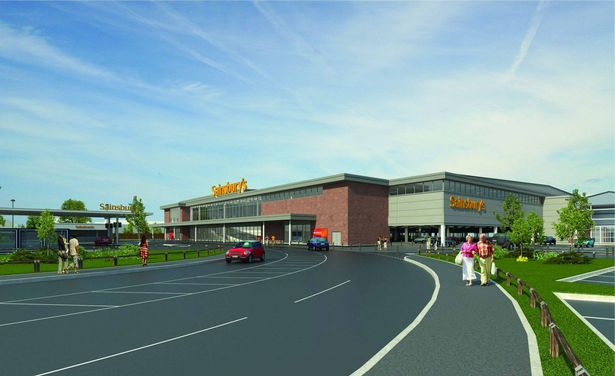 An artist's impression of the proposed new Sainsbury's supermarket at Meols Cop retail park in Southport