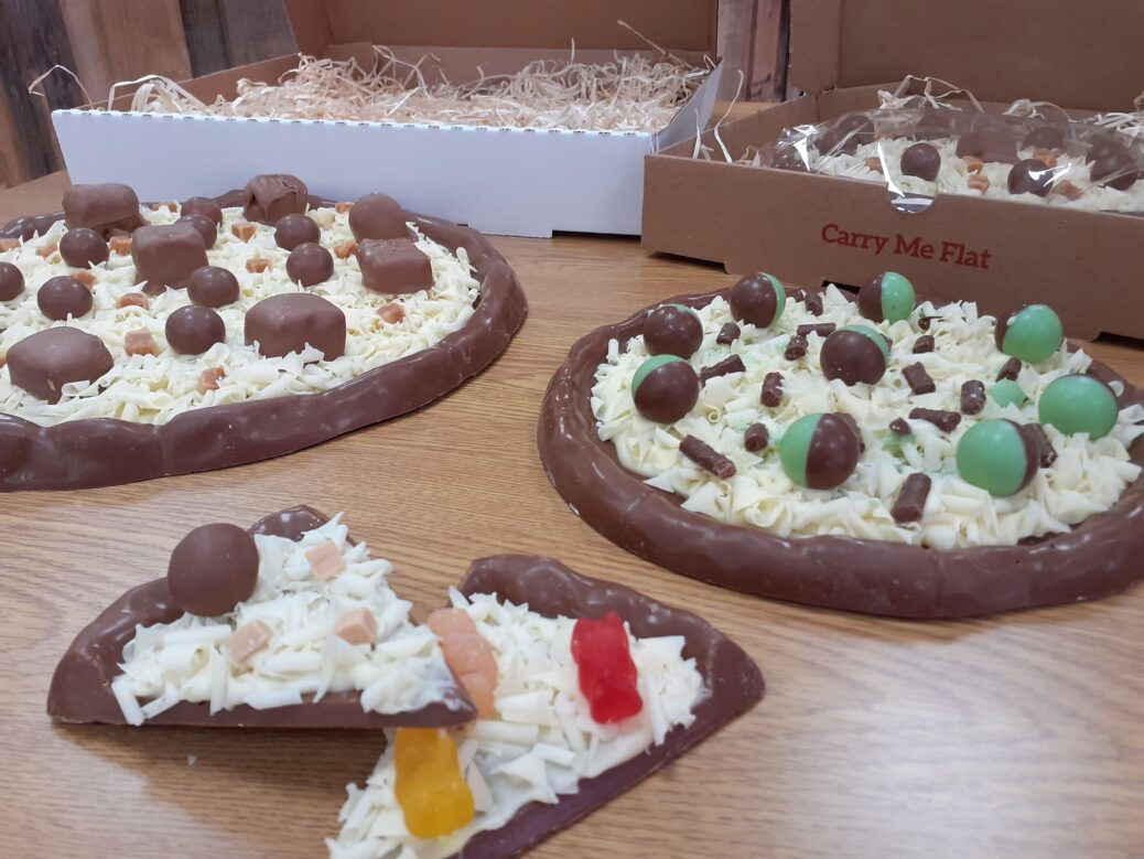 Chocolate pizza at Chocolate Whirled in Southport