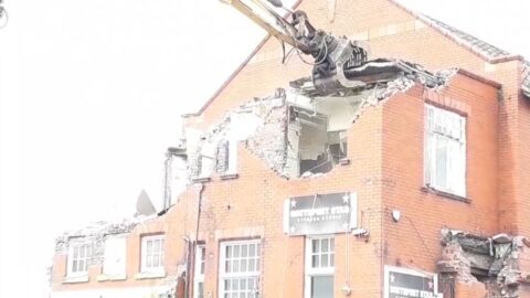 Dramatic video footage shows historic Southport factories being flattened