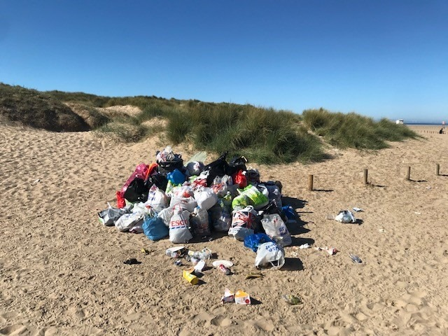 Workers from Green Sefton have been clearing rubbish left by visitors to beaches in Southport, Ainsdale and Formby