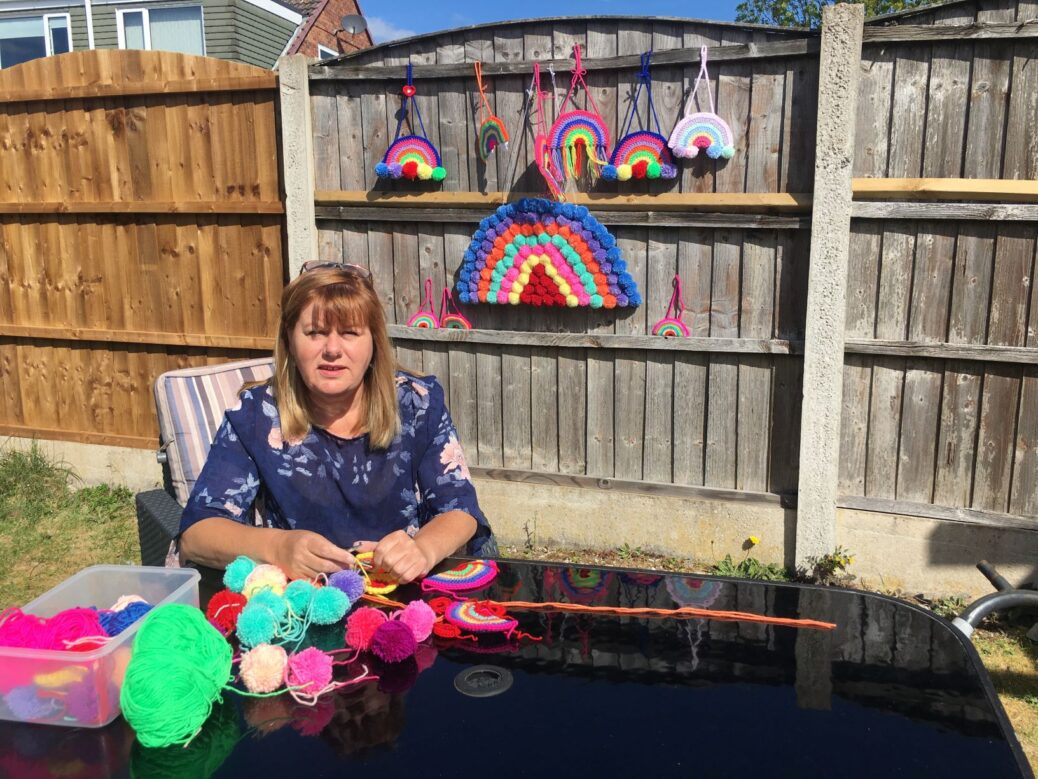 Yvonne Hornblow, a therapy assistant and part of the Queenscourt at Home team, taught herself to crochet using online tutorials and then set about creating rainbows to raise money for Queenscourt Hospice in Southport