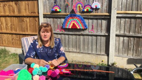 Therapy assistant learns to make crochet rainbows to raise funds for Queenscourt Hospice