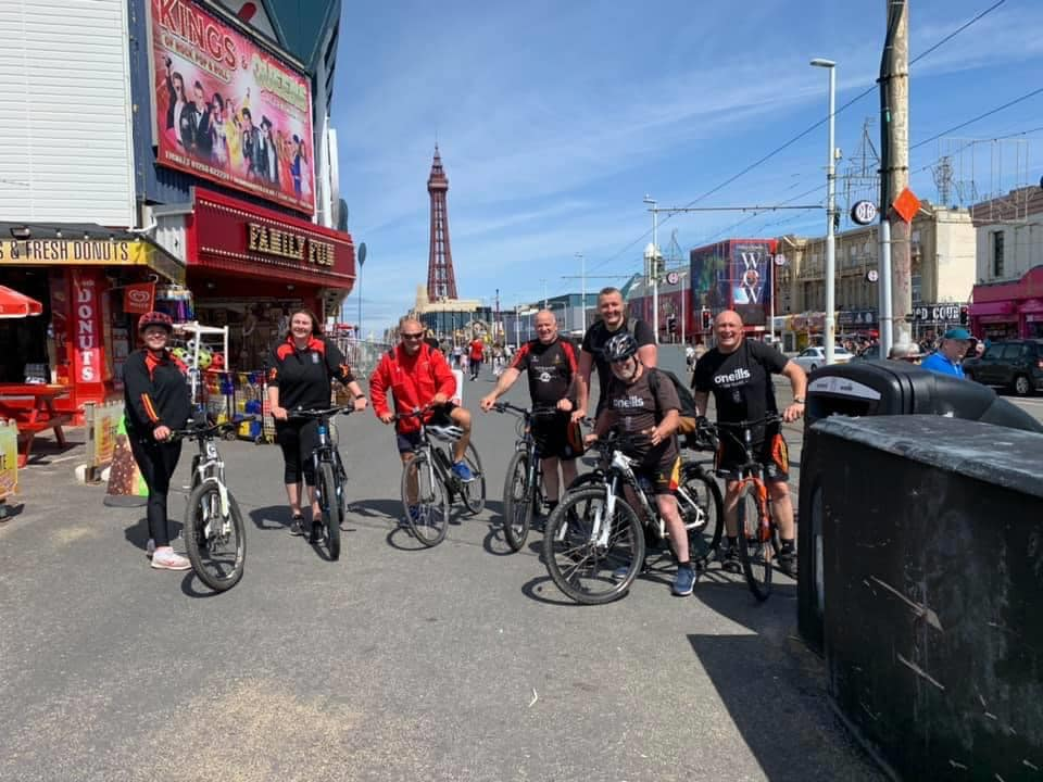 Southport Rugby Football Club players in Blackpool, on their 'Pier to Pier' Southport to Blackpool challenge
