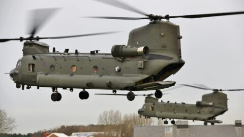Helicopters fly in for military aviation exercises at Altcar Training Camp