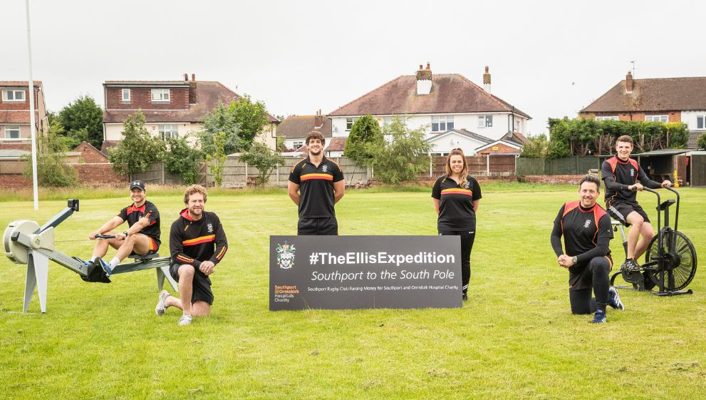 Gareth Lang and Colin Toohey (both kneeling) from Southport Rugby Football Club launch The Ellis Expedition #TheEllisExpedition Photo by Angus Matheson of Wainwright & Matheson Photography