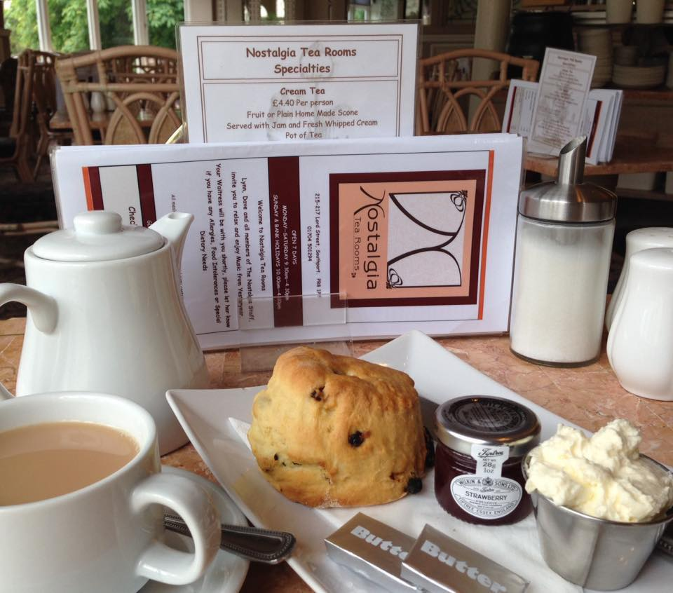 The famous home made scones at Nostalgia Tea Rooms on Lord Street in Southport