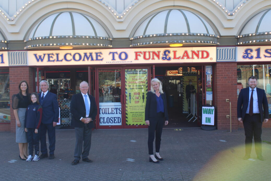 Conservative Party Co-Chairman Amanda Milling MP enjoyed a visit to Silcock's Funland and Silcock's Flavours Ice Cream Parlour in Southport. The MP was welcomed by Southport MP Damien Moore, Sefton Council Conservative Group leader Cllr Tony Brough and Herbert Silcockand his family