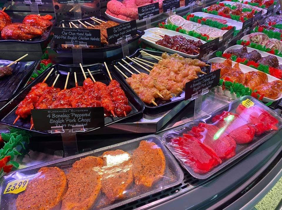 BBQ goods on sale at Blackhurst Butcher's in Southport Market on King Street in Southport