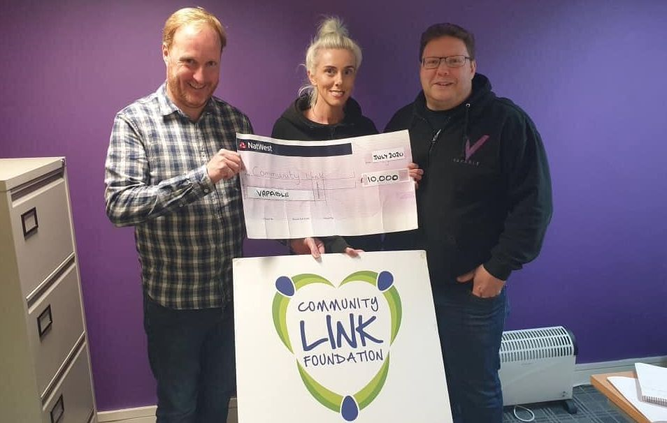 Vapable, a retail company that supplies vapours for e-cigs, has donated £10,000 to the Community Link Foundation to help support good causes in the local area. Pictured are (from left):Enda Rylands, from CLF, Helen Leary and Tim Holland from Vapable