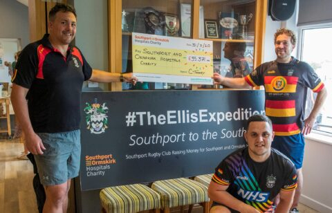 Hospitals thanks Southport Rugby Club for raising £35,000 through The Ellis Expedition