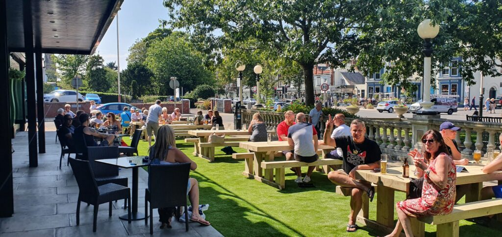 The new Garden Bar outside the Lord Street Hotel and Punch Tarmey's bar on Lord Street in Southport.