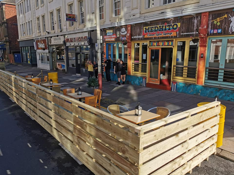 The new parklet outside Medhito Cuban Latin Lounge on Coronation Walk in Southport