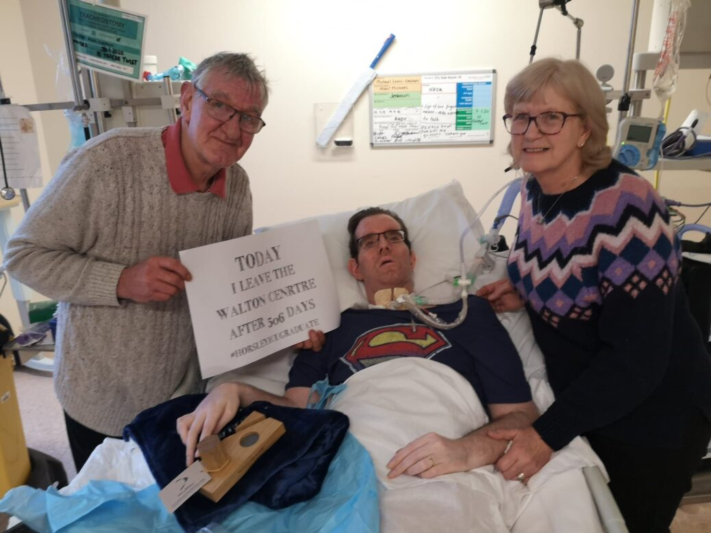 Michael Walton, from Southport, with parents Roger and Margaret
