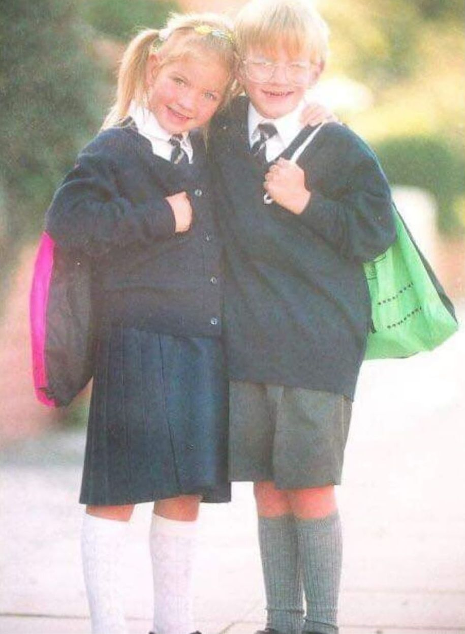 Michael Walton and twin sister Laura on their first day at Our Lady of Lourdes Primary School in Southport in 1995
