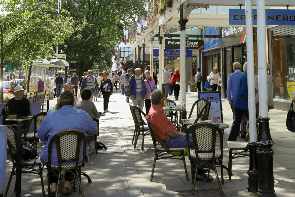 Outdoor seating on Lord Street in Southport