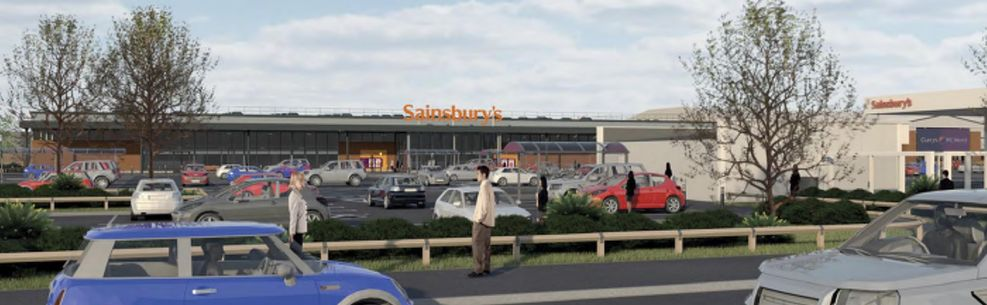 An artist's impression of the proposed new Sainsbury's supermarket at Meols Cop retial park in Southport
