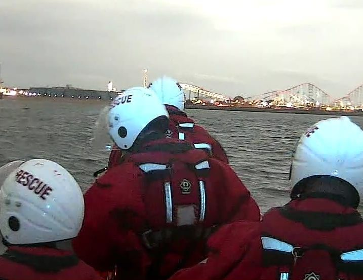 Southport Lifeboat crew members take part in the search