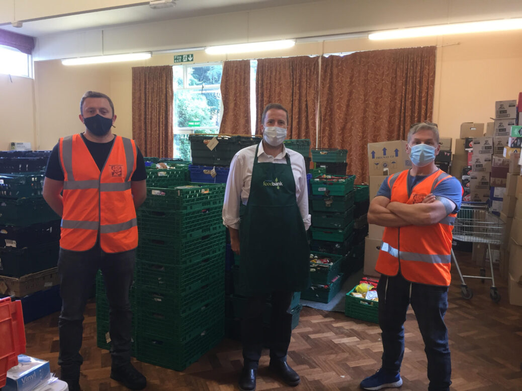 Foodbank CEO Richard Owens (centre) with Cllr Greg. Myers (right) and Sean Flynn (left)