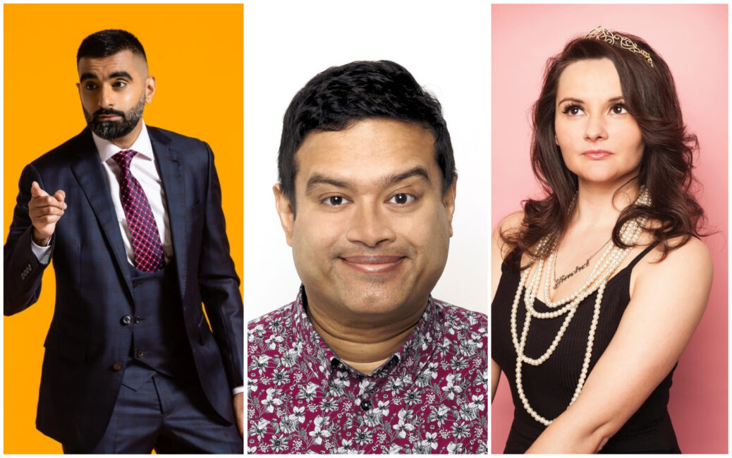 Tez Ilyas (left), Paul Sinha (centre) and Rachel Fairburn (right) are among comedians performing at Southport Comedy Festival 2020