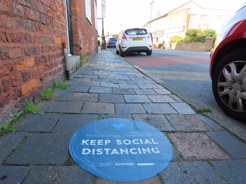 A coronavirus / Covid-19 sign in Churchtown in Southport. Photo by Andrew Brown Media