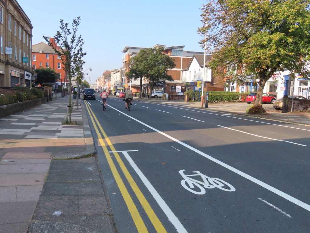 Work is taking place to create new pop up cycle lanes on roads including Hoghton Street and Queens Road in Southport. Photo by Andrew Brown Media