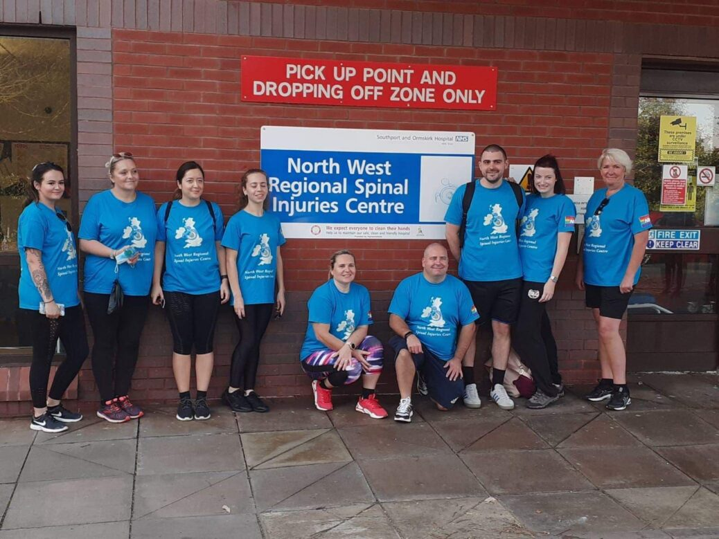 NHS staff from Southport Hospital walked from Southport to Liverpool on Wednesday 17 September, 2020 to raise money for a new minibus for patients at the North West Regional Spinal Injuries Centre in Southport. They are pictured outside Southport Hospital