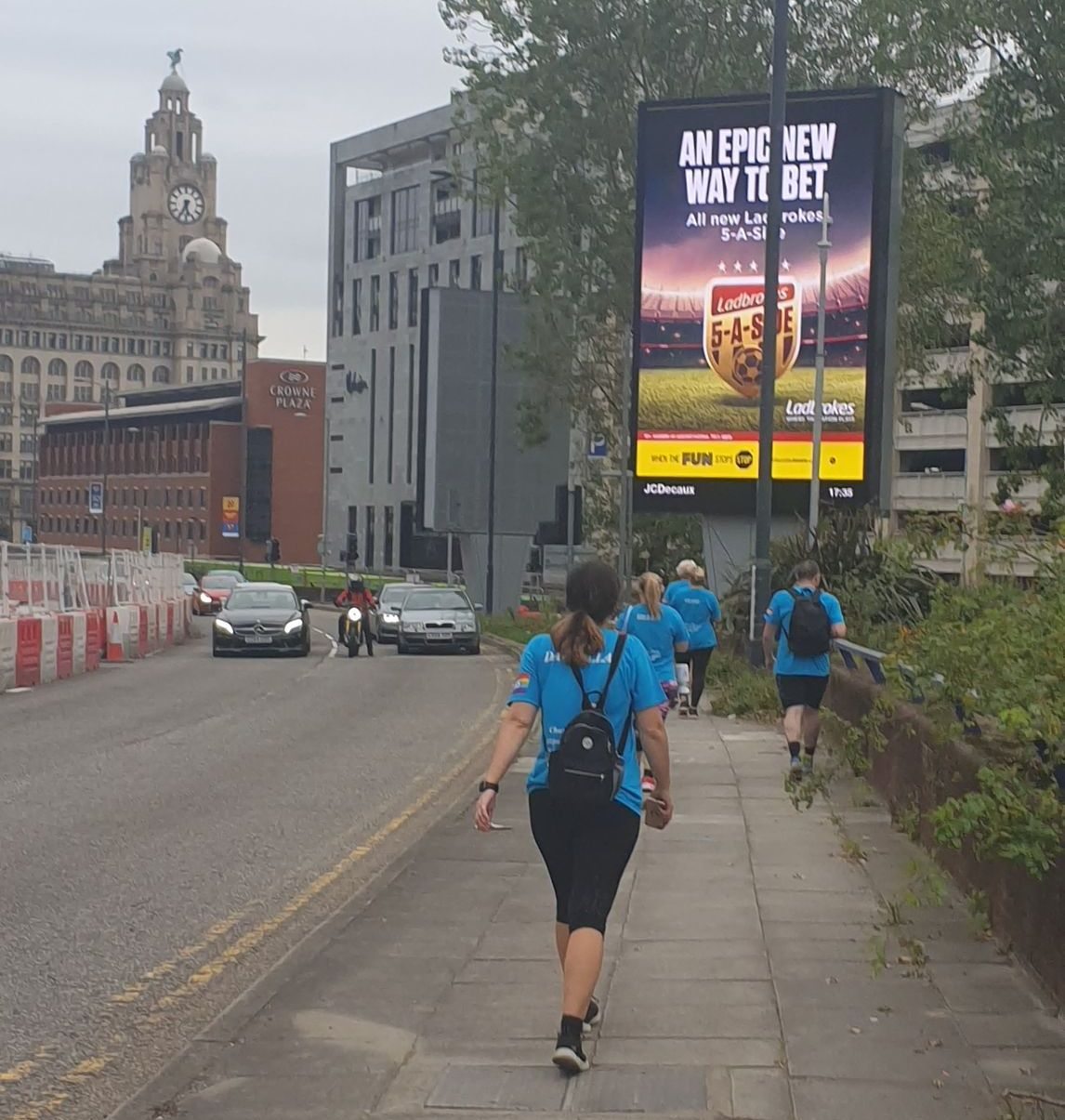 NHS staff from Southport Hospital walked from Southport to Liverpool on Wednesday 17 September, 2020 to raise money for a new minibus for patients at the North West Regional Spinal Injuries Centre in Southport