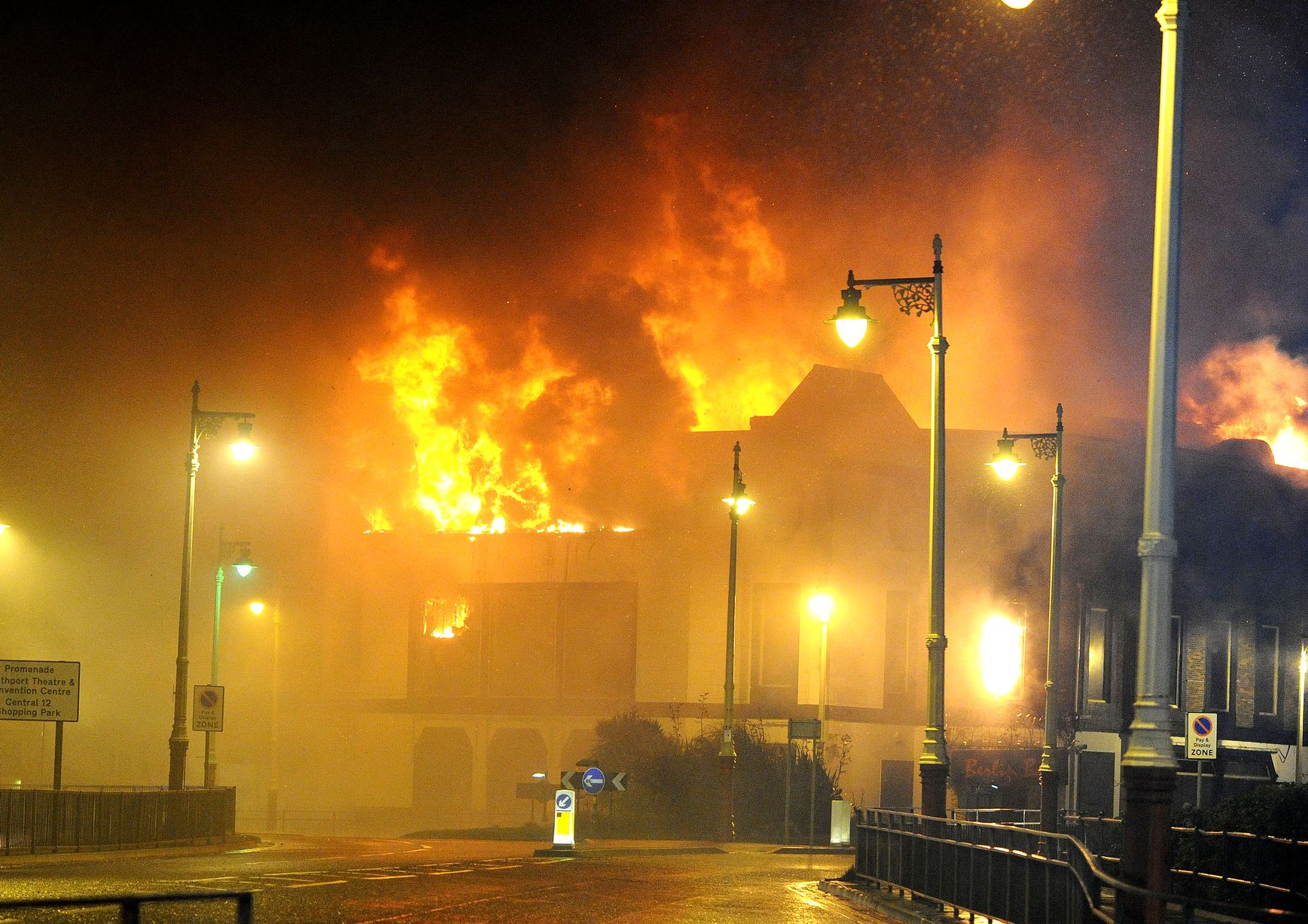 The Kingsway nightclub in Southport on fire on September 6, 2010