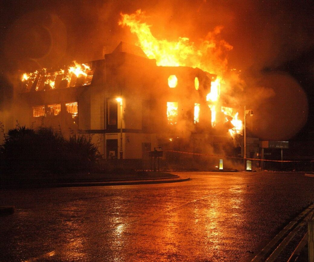 The Kingsway nightclub in Southport on fire on September 6, 2010. Photo by Tony Thomas