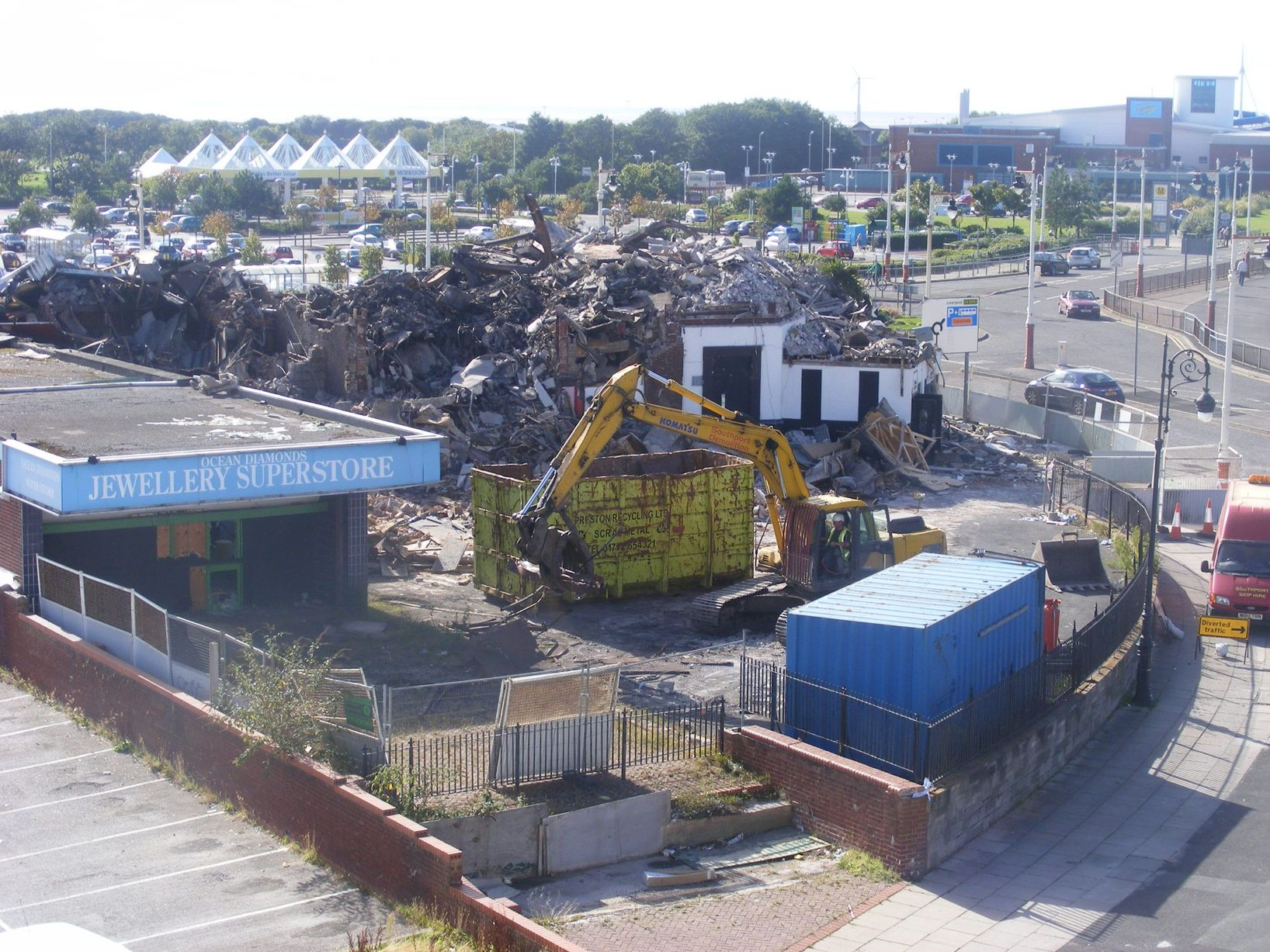 An aerial shot of demolition work starting at the Kingsway site in Southport after the fire
