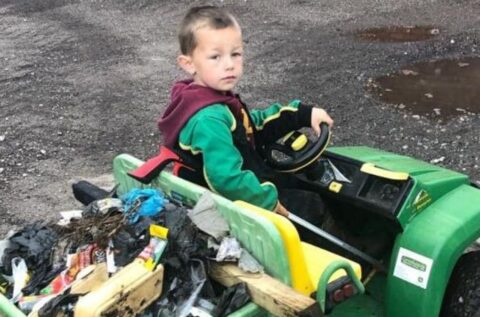 Boy, 4, who cleaned up his village with his battery powered Gator and little picker hailed a hero