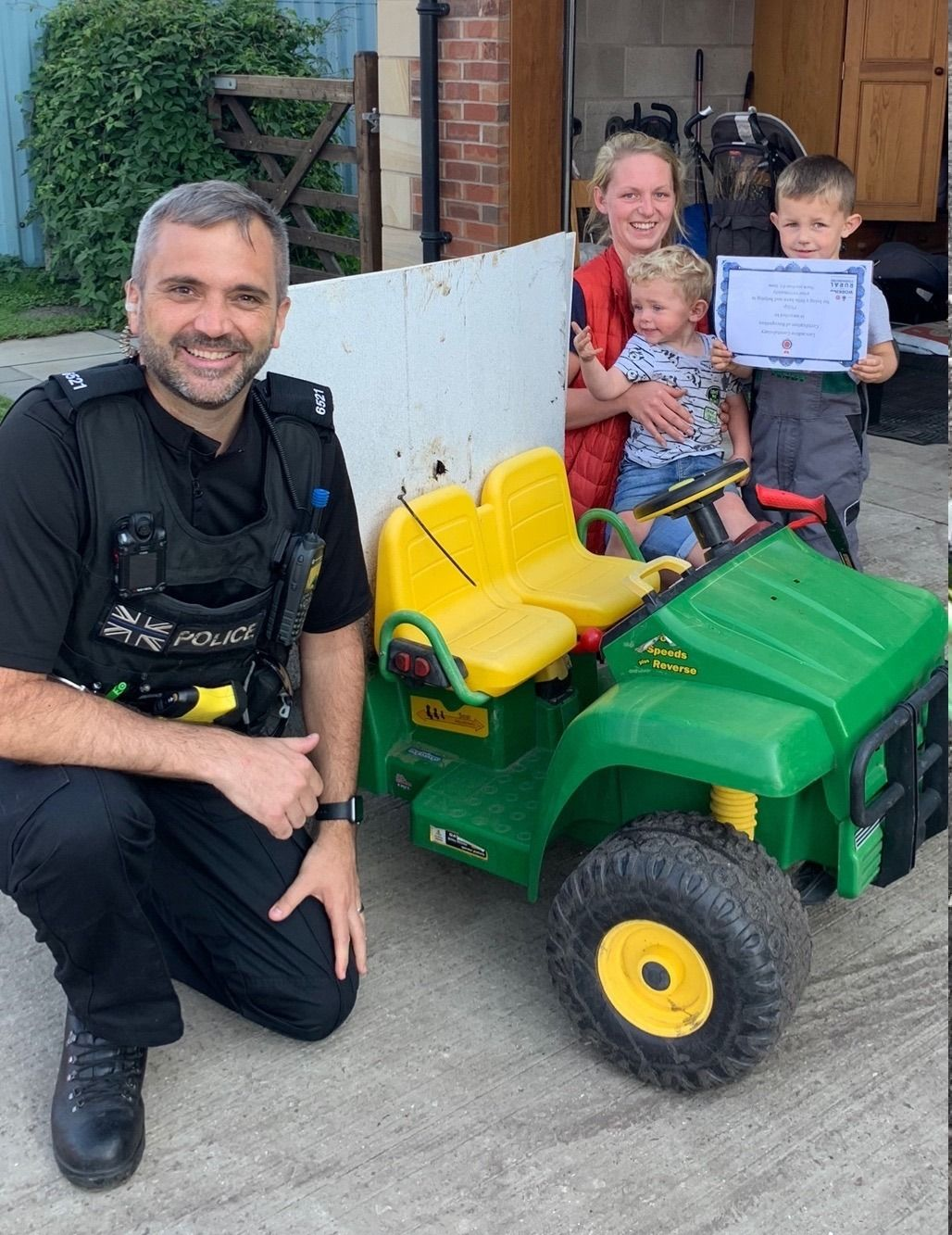 Phillip, aged 4 from Banks, near Southport, has used his battery operated gator and his litter picker to clean up his village