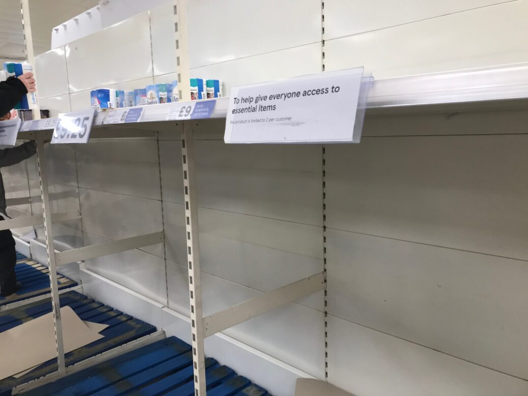 Shelves at the Tesco superstore on Town Lane in Kew, Southport were empited by panic buying when the Covid-19 pandemic led to a UK wide lockdown in March. Photo by Andrew Brown Media