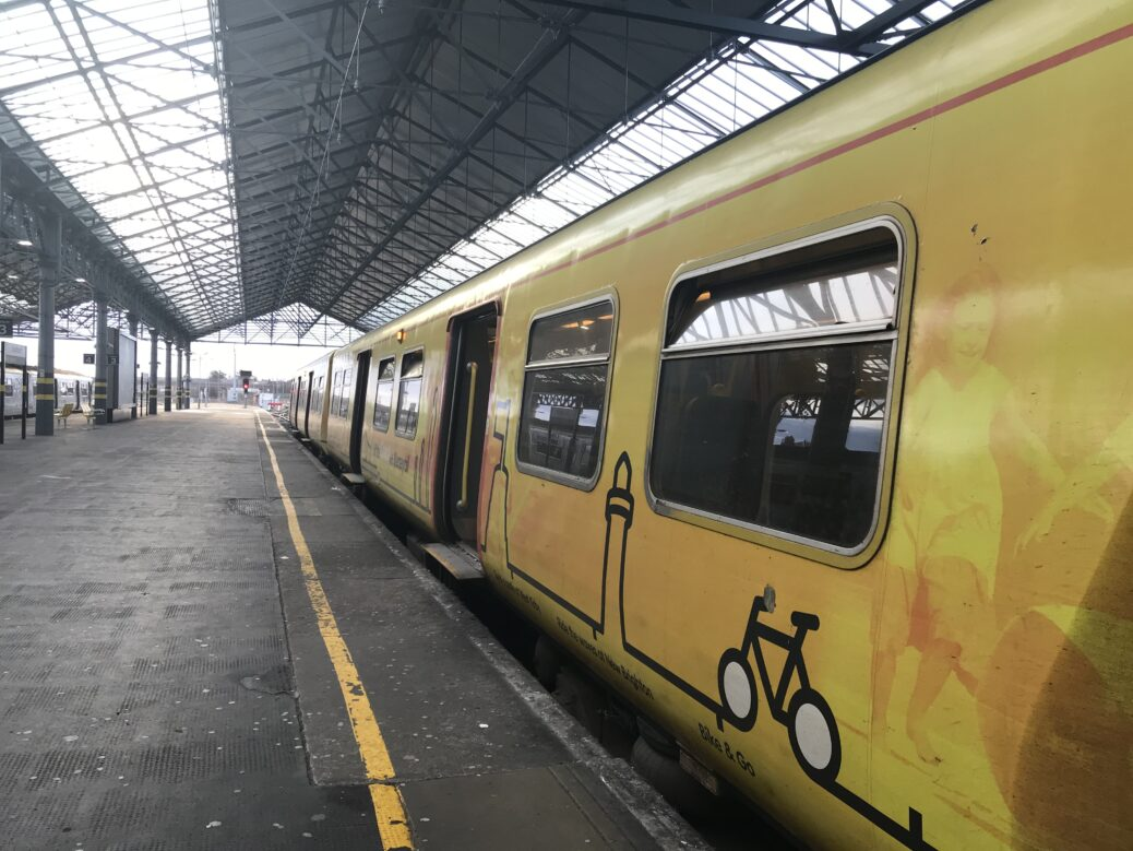 A Merseyrail Southport to Liverpool train at the platform at Southport Train Station. Photo by Andrew Brown Media
