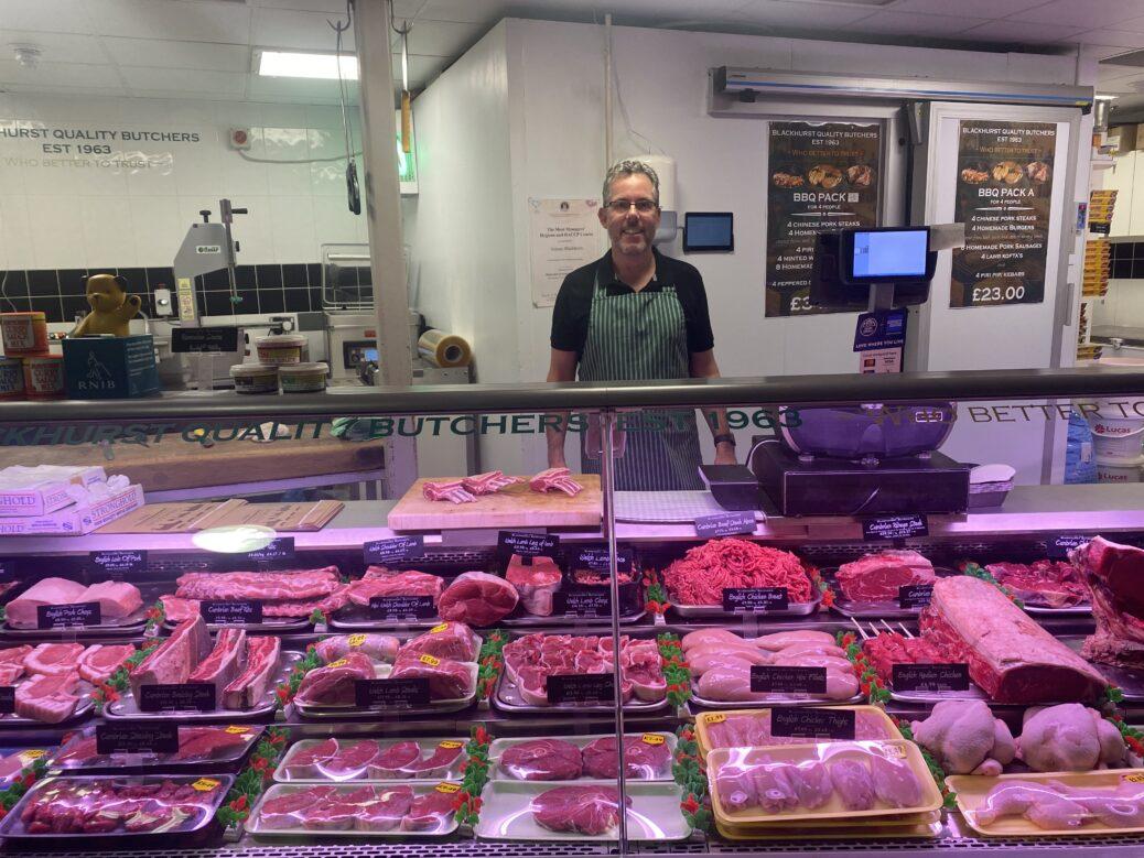 Owner Tony Blackhurst at Blackhurst Butchers in Southport Market