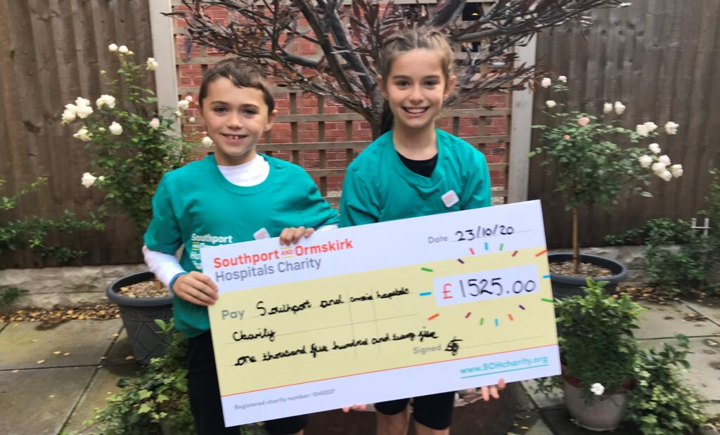 Seren and Wade Farrington have raised money for the Southport and Ormskirk Hospitals Charity