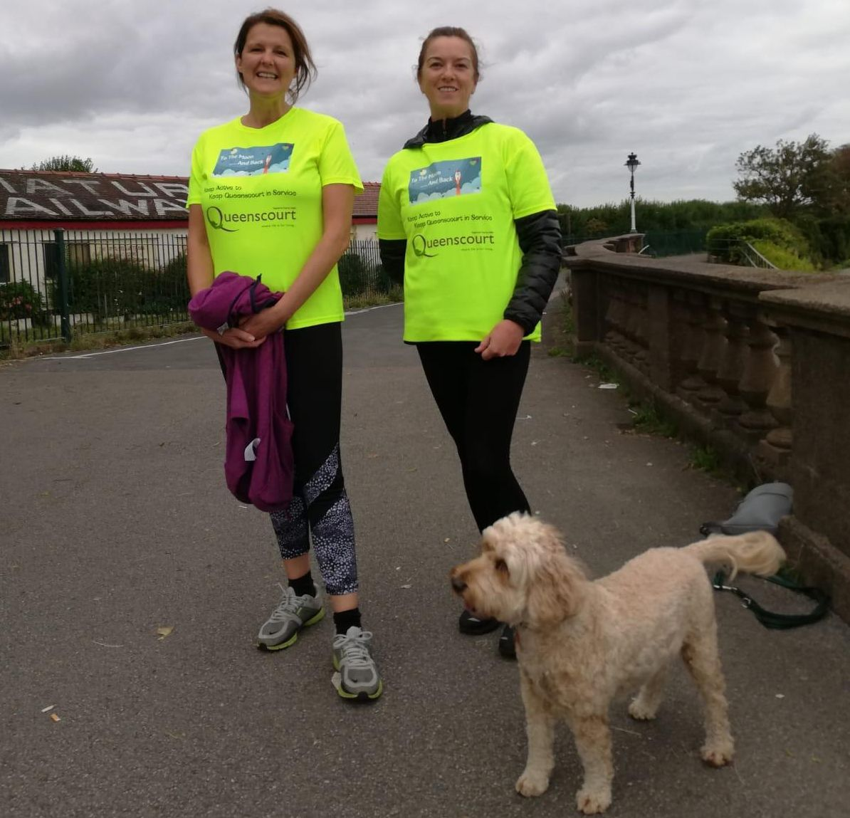 Lisa Lawton and Rose Monaghan from Team Buzz raised money for Queenscourt Hospice
