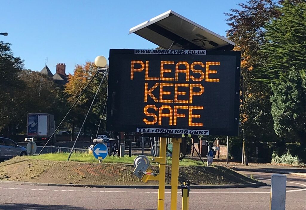 A Covid-19 / Coronavirus warning on Lord Street in Southport. Photo by Andrew Brown Media