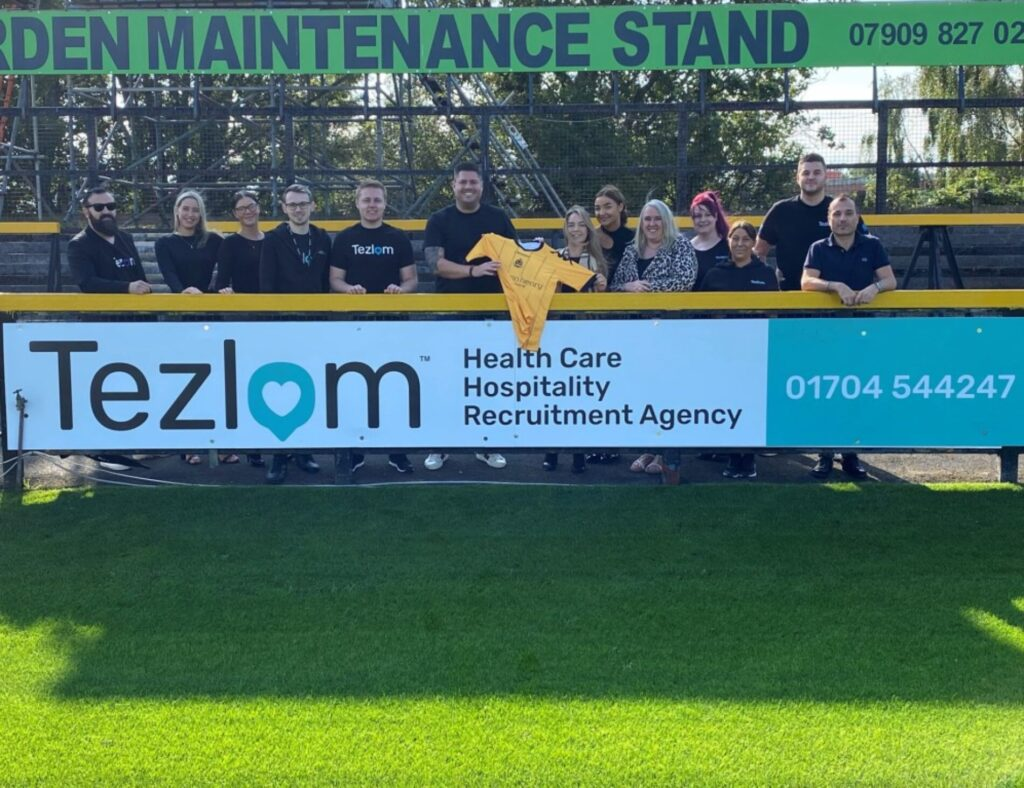 Tezlom show their support for Southport FC with an advertising board at the club