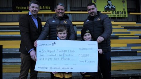 Southport FC superfans Harry and Leighton raise £2,585 with 50 lap cycle challenge