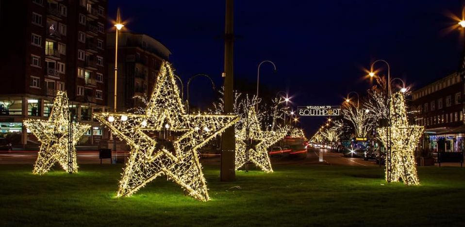 Christmas decorations on Lord Street in Southport, provided by Southport BID